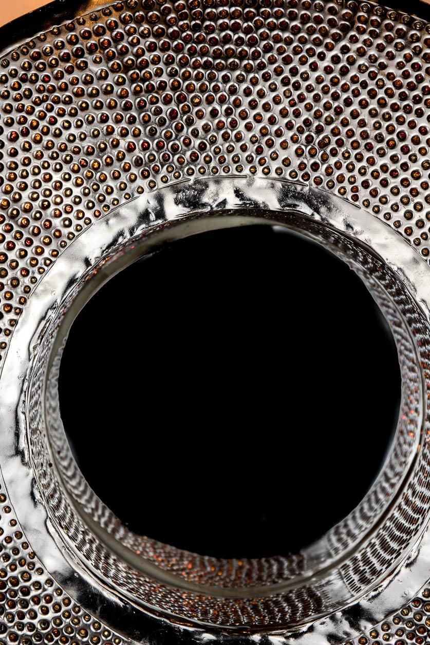 Moyen miroir rond rétroéclairé avec incrustation de billes