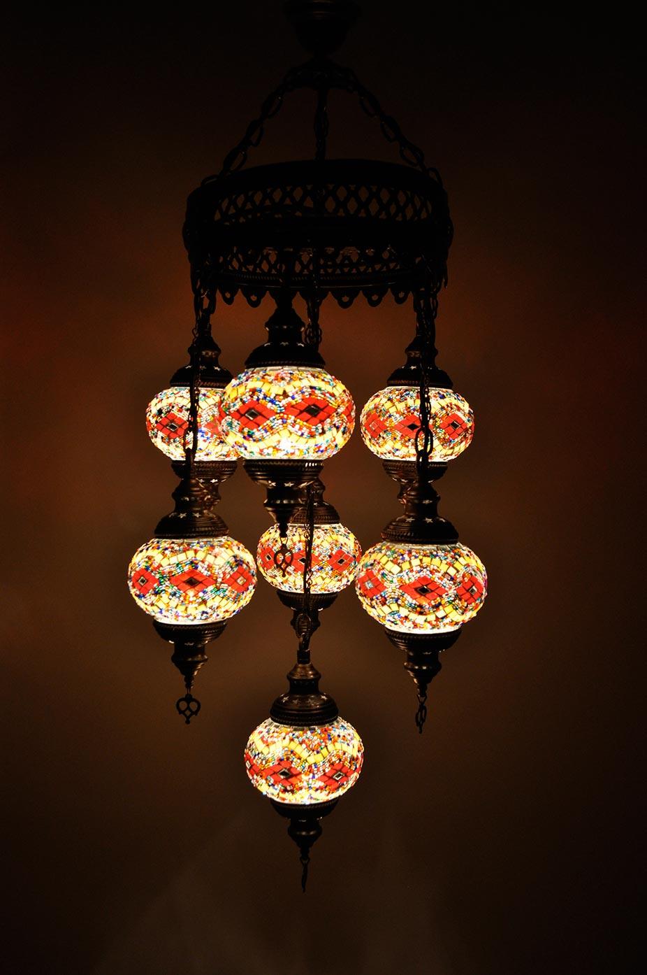 Lampe turque suspendue avec 7 globes mosaïque en groupée