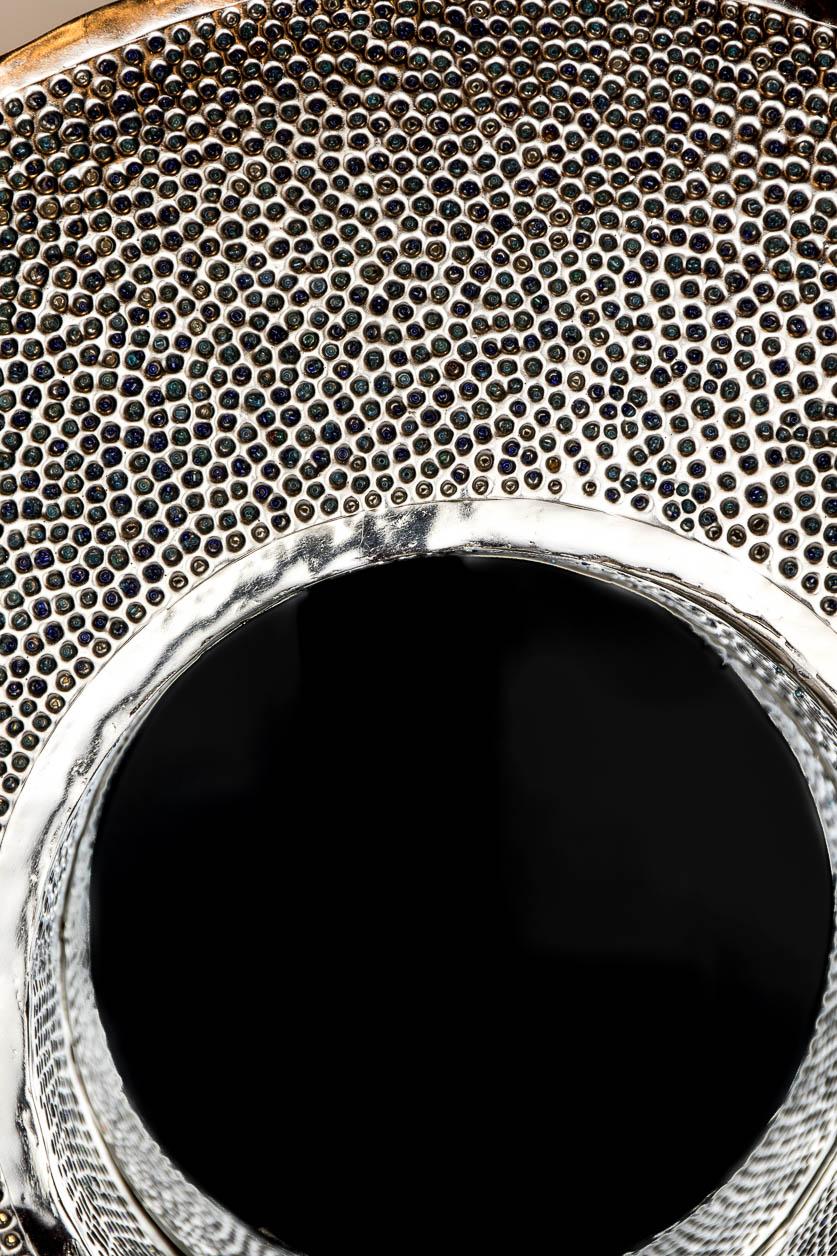 Grand miroir rond rétroéclairé avec incrustation de billes