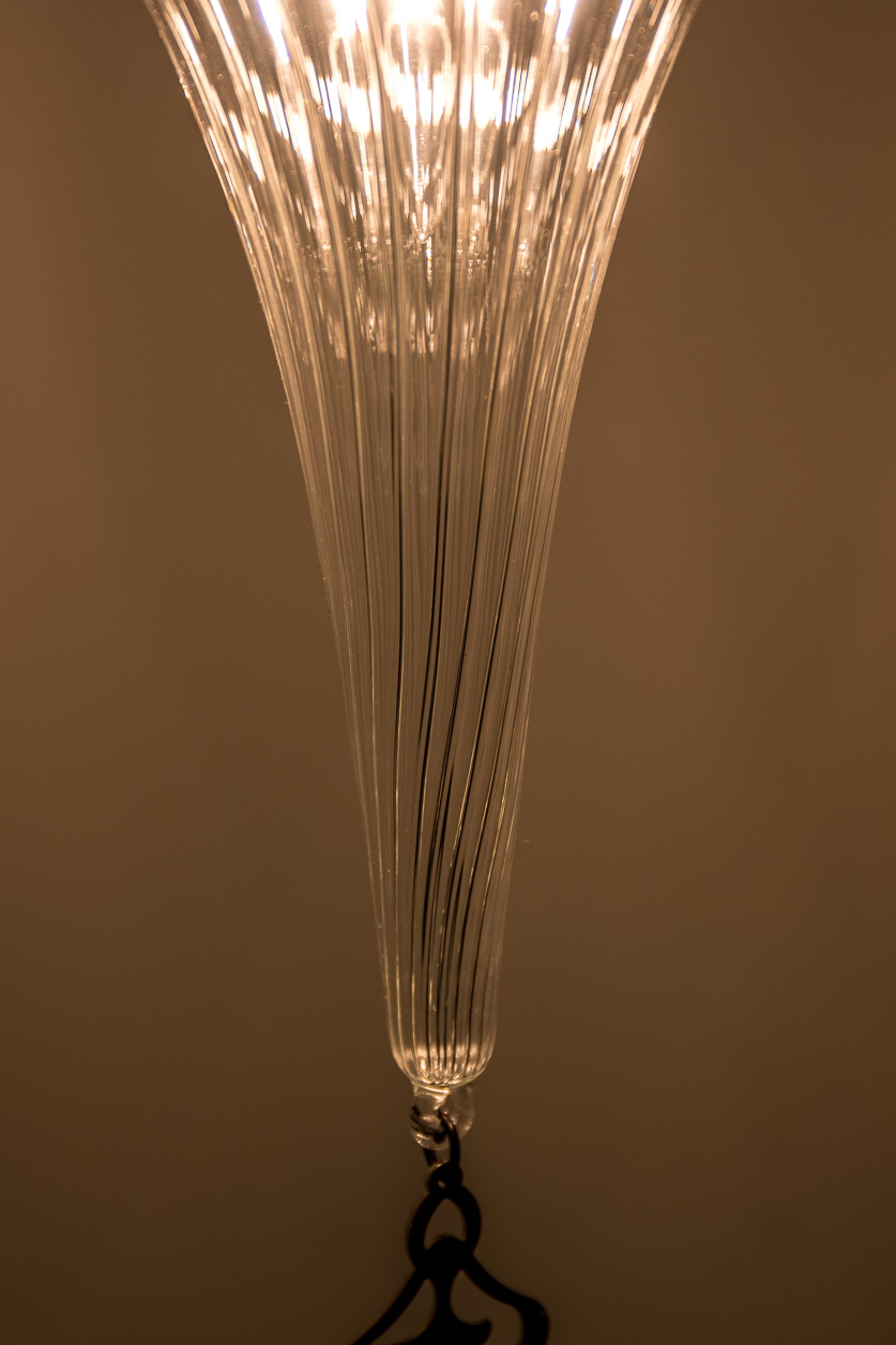 Lampe suspendue de pyrex soufflé Art déco