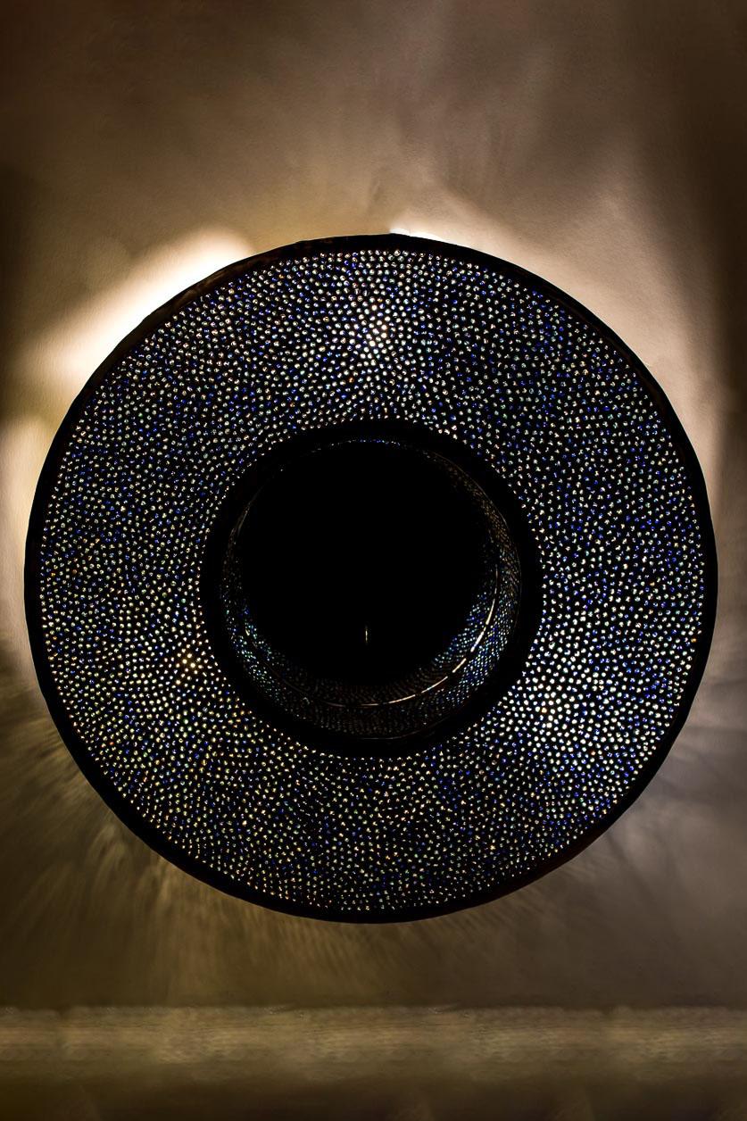 Petit miroir rond rétroéclairé avec incrustation de billes