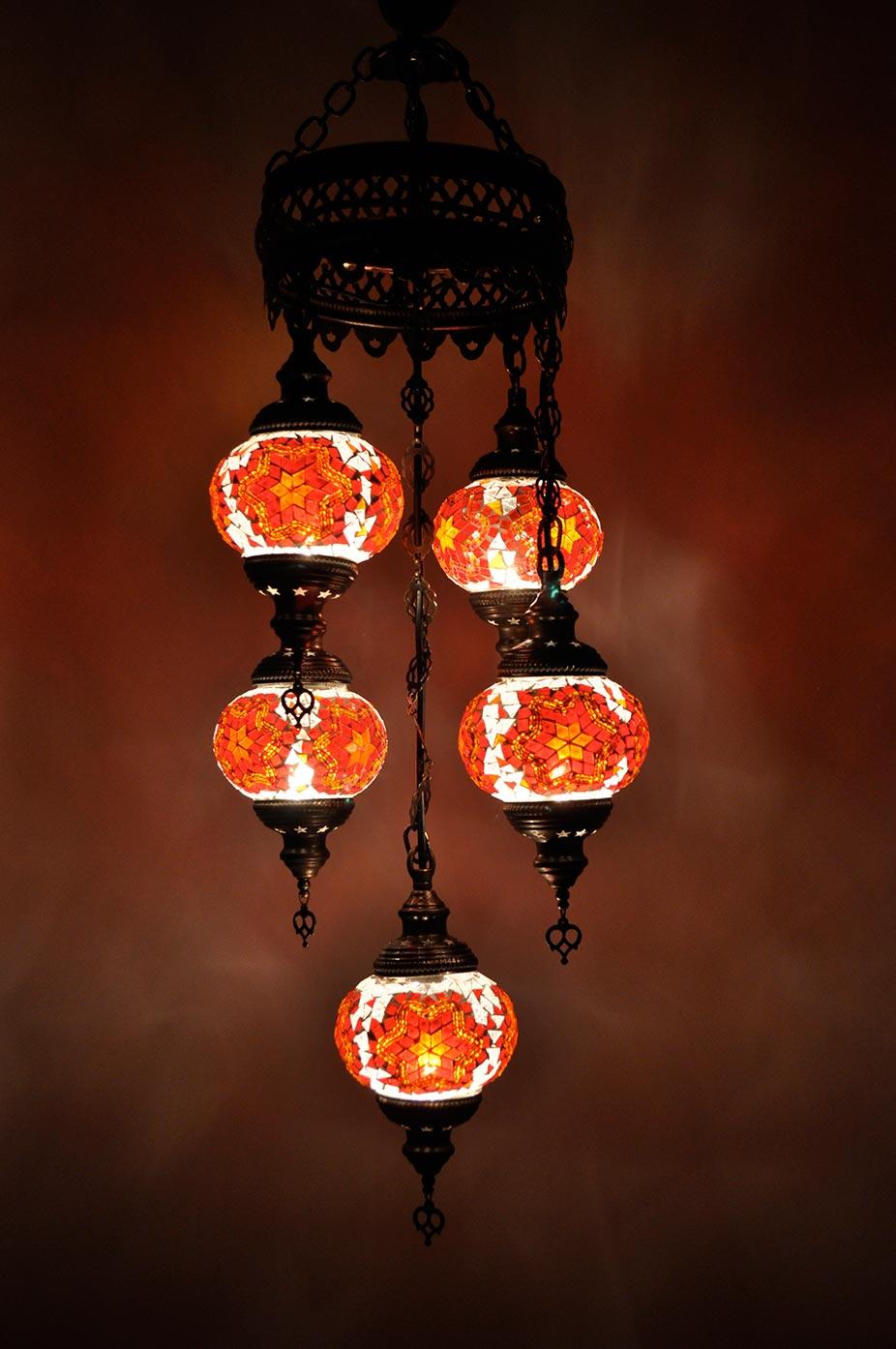 Lampe turque suspendue avec 5 globes mosaïque en groupée