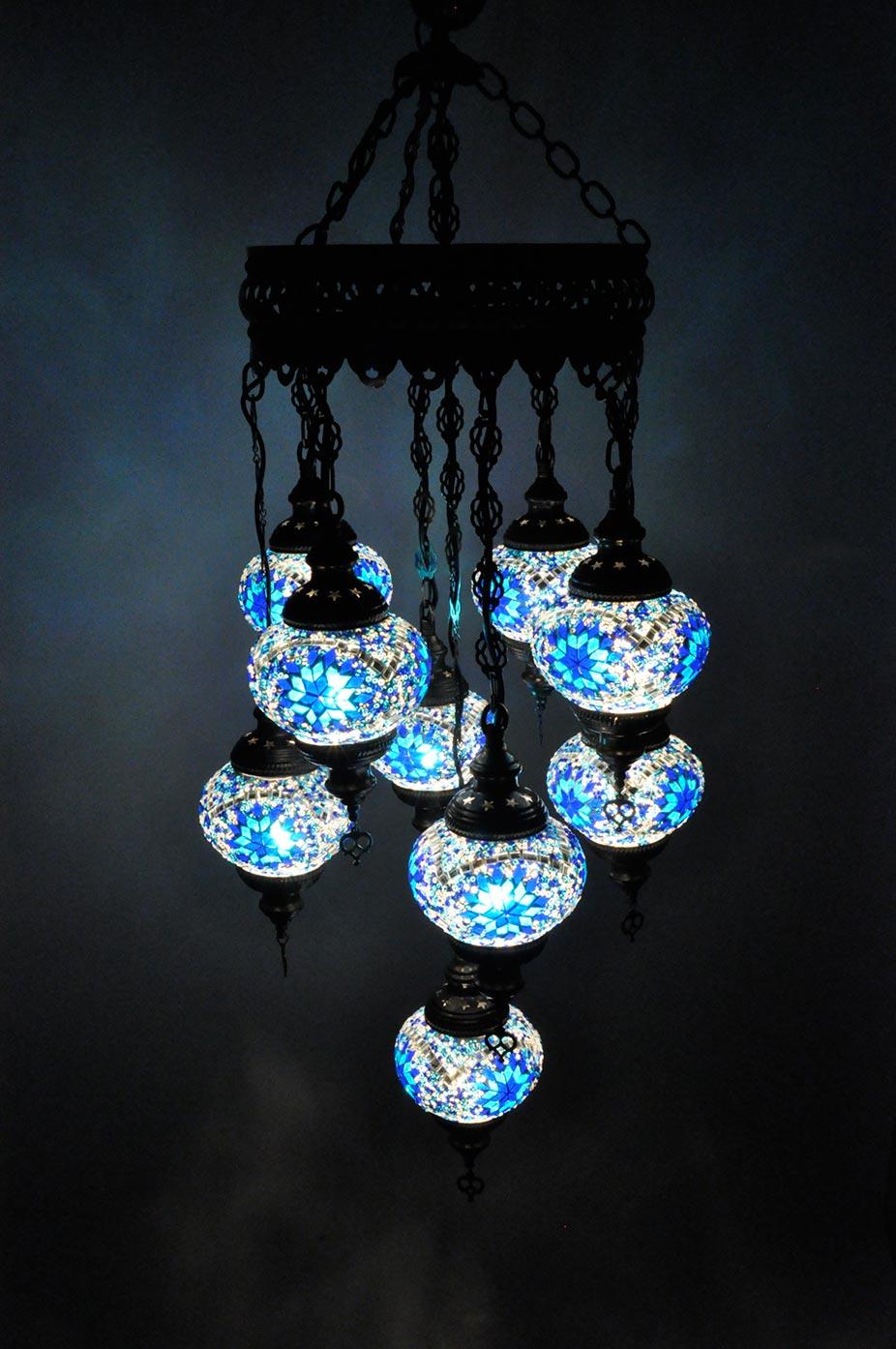 Lampe turque suspendue avec 9 globes mosaïque en groupée