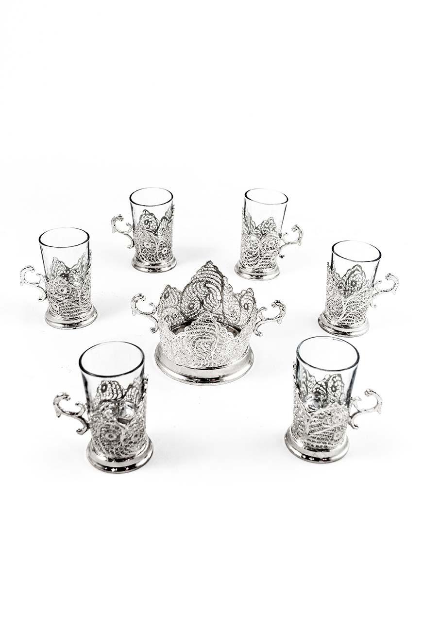 Service à thé à 6 tasses et sucrier